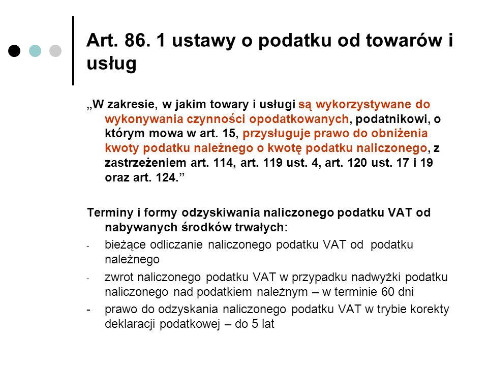 Art. 86. 1 ustawy o podatku od towarów i usług