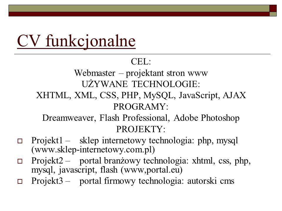 CV funkcjonalne CEL: Webmaster – projektant stron www