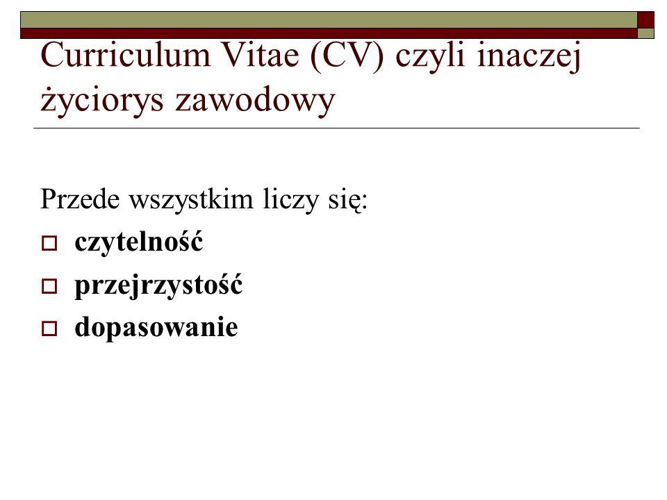 Curriculum Vitae (CV) czyli inaczej życiorys zawodowy