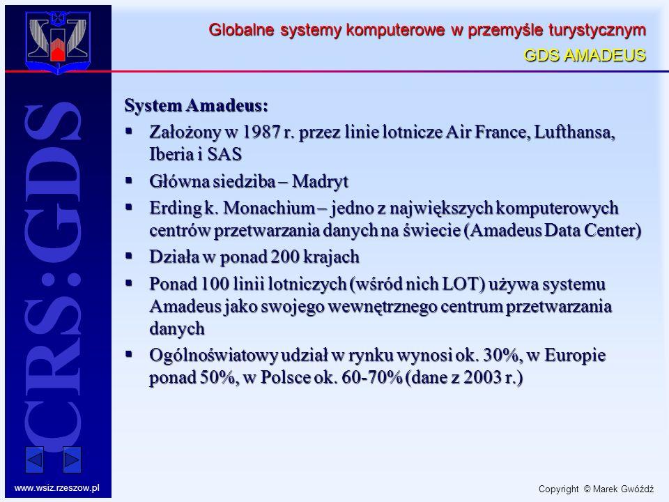 Globalne systemy komputerowe w przemyśle turystycznym GDS AMADEUS