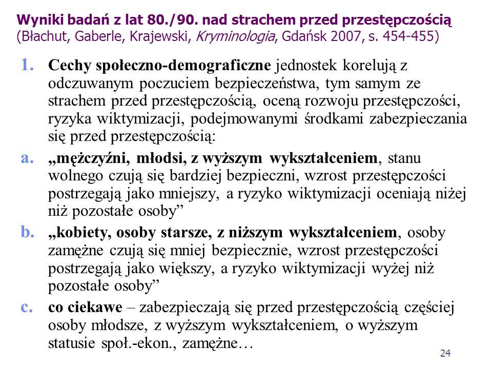 Wyniki badań z lat 80./90. nad strachem przed przestępczością (Błachut, Gaberle, Krajewski, Kryminologia, Gdańsk 2007, s. 454-455)