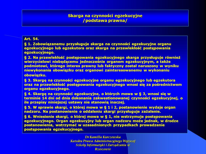 Skarga na czynności egzekucyjne /podstawa prawna/