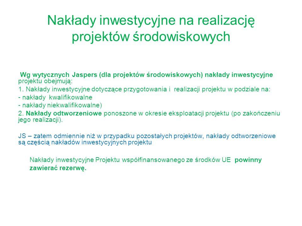 Nakłady inwestycyjne na realizację projektów środowiskowych