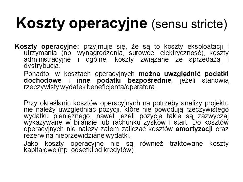 Koszty operacyjne (sensu stricte)