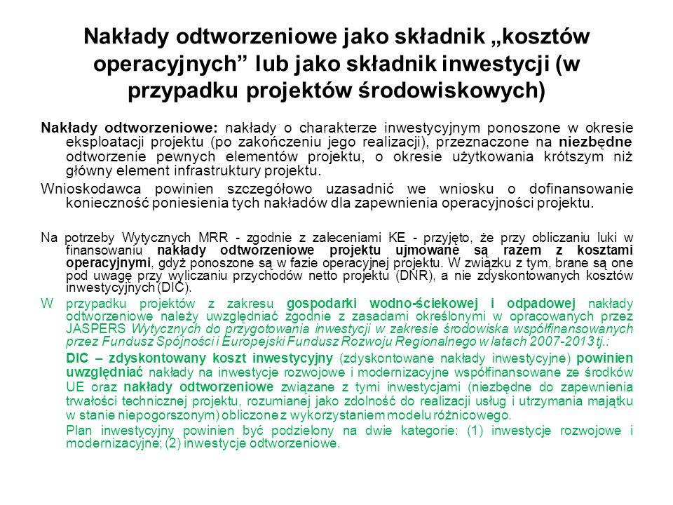 """Nakłady odtworzeniowe jako składnik """"kosztów operacyjnych lub jako składnik inwestycji (w przypadku projektów środowiskowych)"""