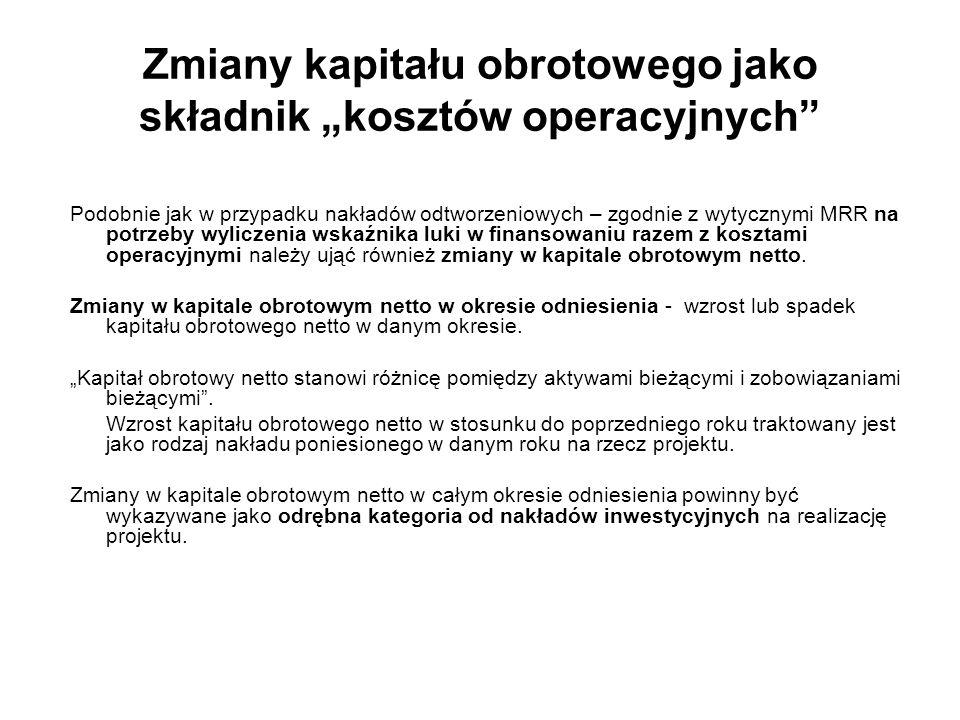 """Zmiany kapitału obrotowego jako składnik """"kosztów operacyjnych"""