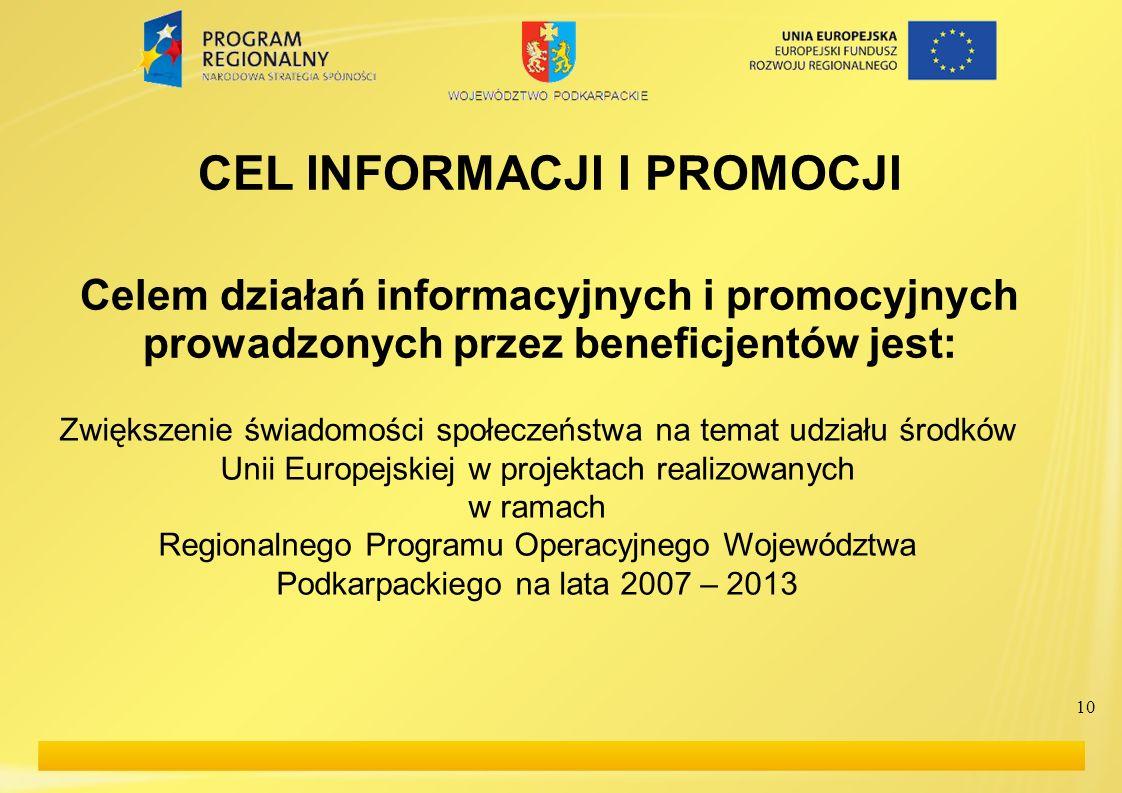 CEL INFORMACJI I PROMOCJI Celem działań informacyjnych i promocyjnych prowadzonych przez beneficjentów jest: