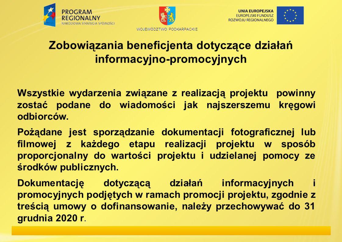 Zobowiązania beneficjenta dotyczące działań informacyjno-promocyjnych