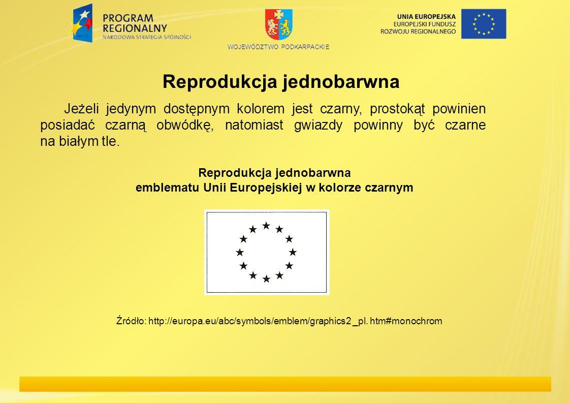 Reprodukcja jednobarwna emblematu Unii Europejskiej w kolorze czarnym