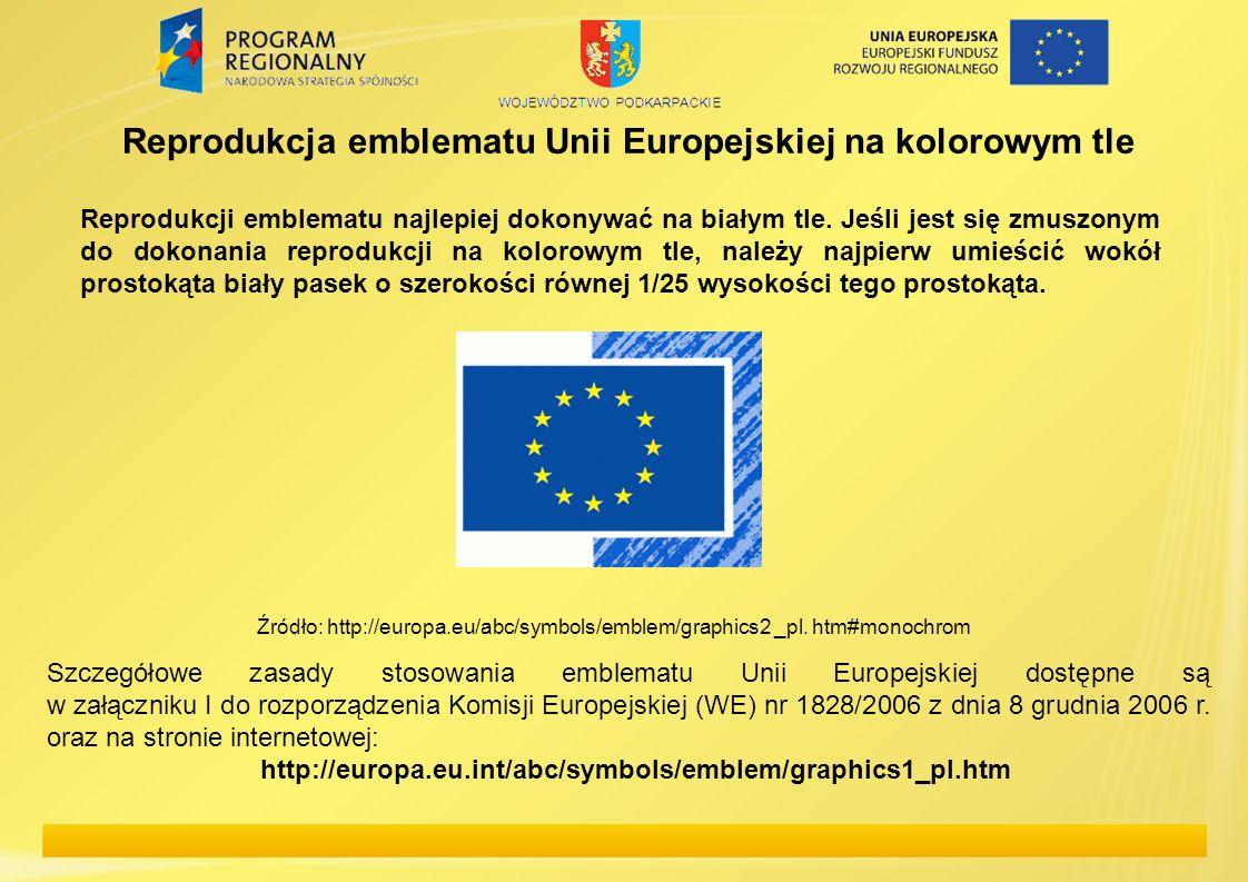 Reprodukcja emblematu Unii Europejskiej na kolorowym tle
