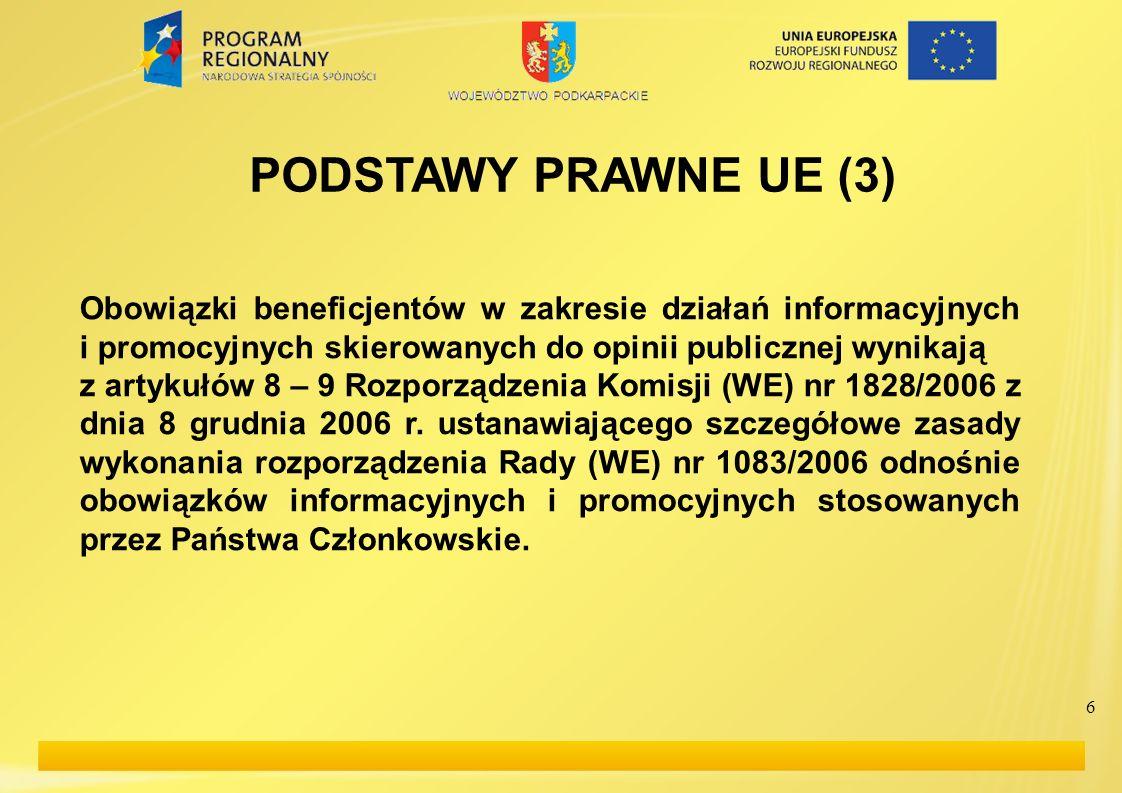 PODSTAWY PRAWNE UE (3) Obowiązki beneficjentów w zakresie działań informacyjnych i promocyjnych skierowanych do opinii publicznej wynikają.