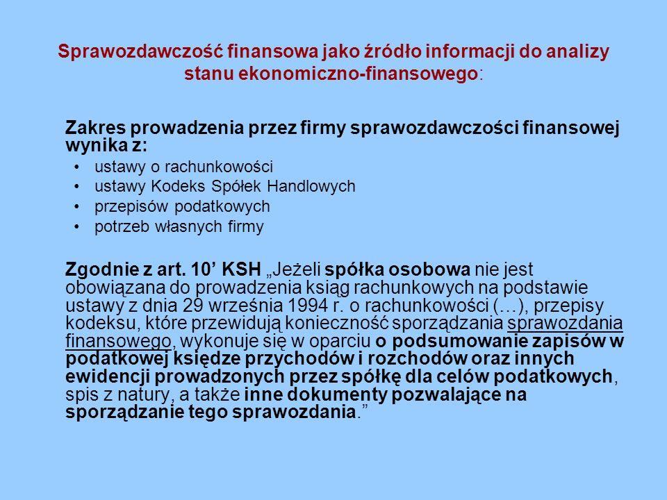 Zakres prowadzenia przez firmy sprawozdawczości finansowej wynika z: