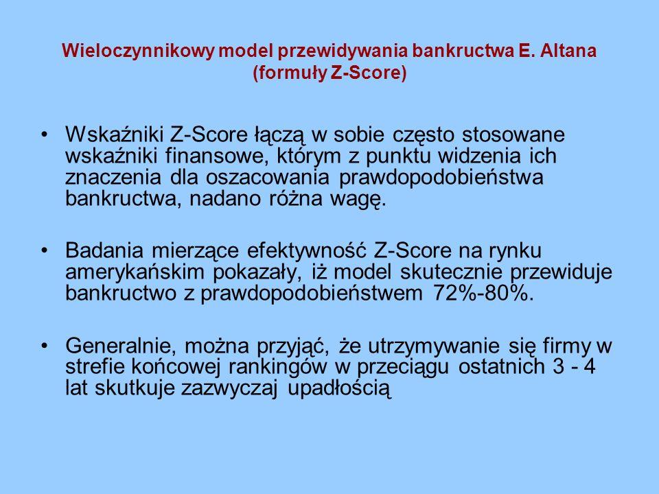 Wieloczynnikowy model przewidywania bankructwa E