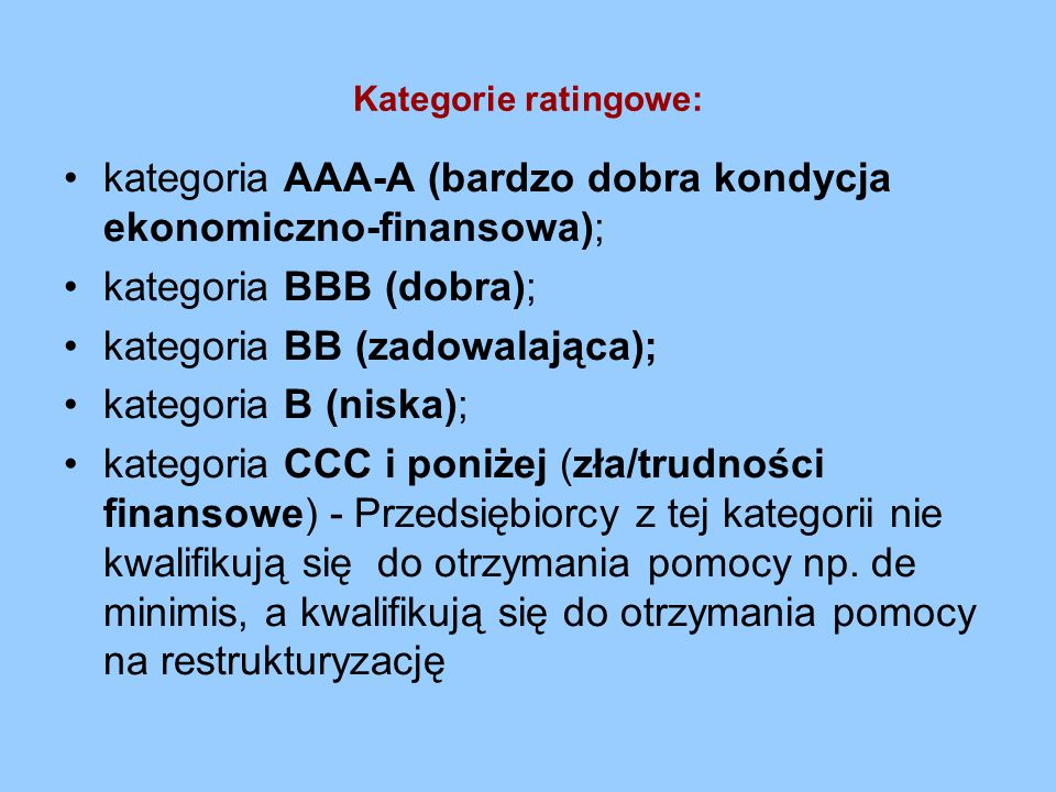 kategoria AAA-A (bardzo dobra kondycja ekonomiczno-finansowa);