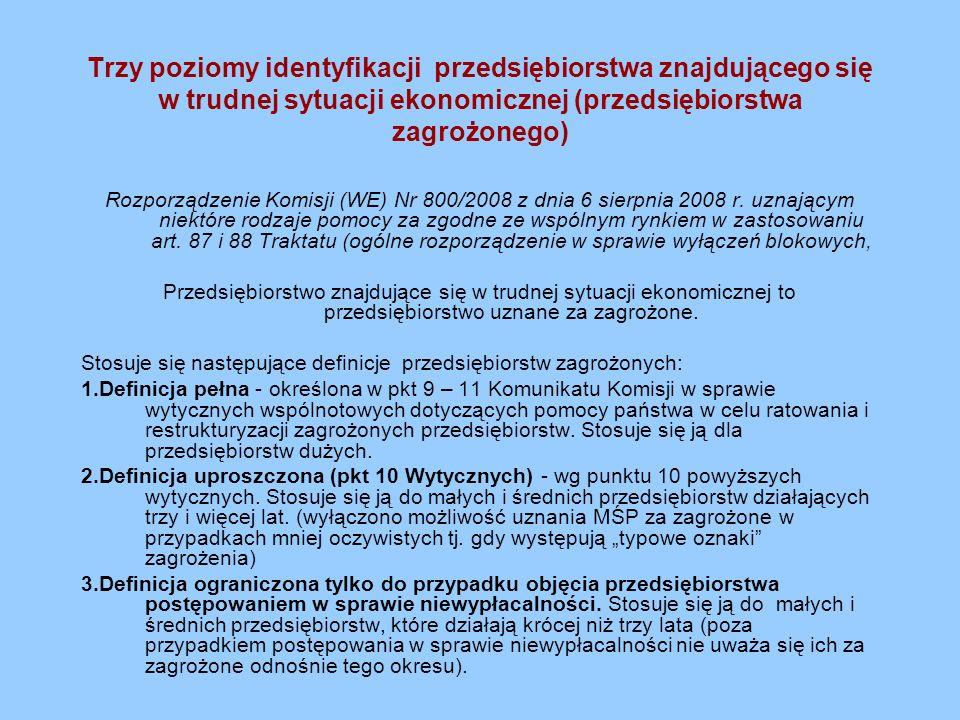 Trzy poziomy identyfikacji przedsiębiorstwa znajdującego się w trudnej sytuacji ekonomicznej (przedsiębiorstwa zagrożonego)