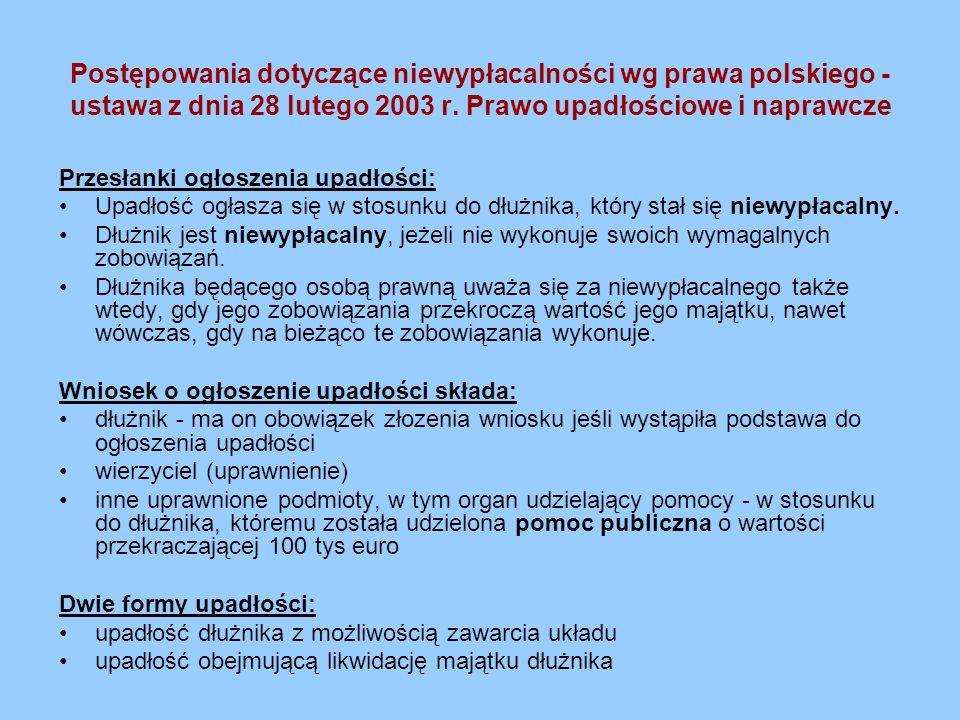Postępowania dotyczące niewypłacalności wg prawa polskiego -ustawa z dnia 28 lutego 2003 r. Prawo upadłościowe i naprawcze