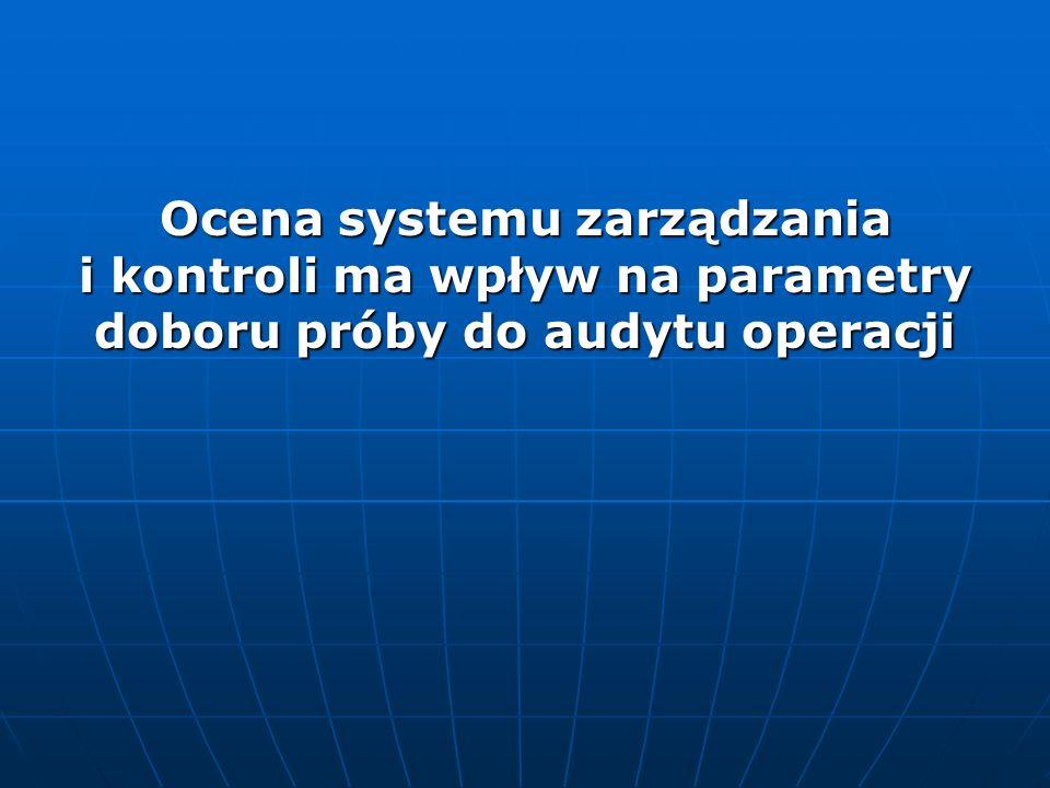 Ocena systemu zarządzania i kontroli ma wpływ na parametry doboru próby do audytu operacji