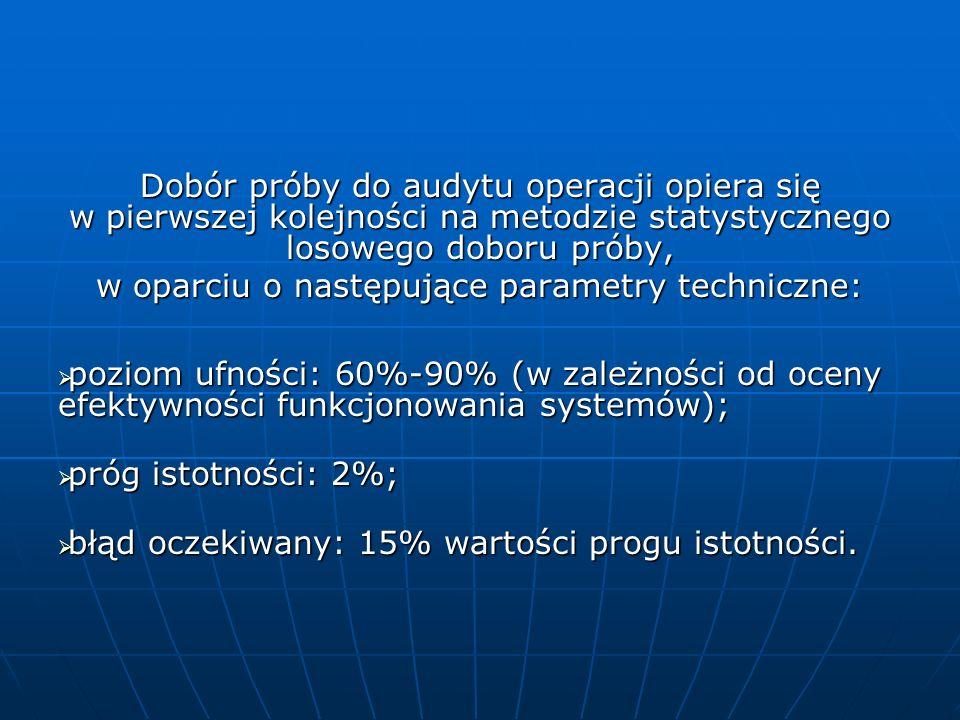 w oparciu o następujące parametry techniczne: