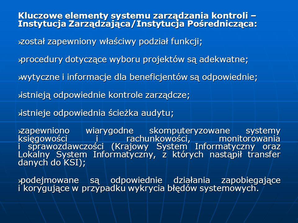 Kluczowe elementy systemu zarządzania kontroli – Instytucja Zarządzająca/Instytucja Pośrednicząca: