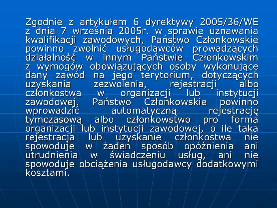 Zgodnie z artykułem 6 dyrektywy 2005/36/WE z dnia 7 września 2005r