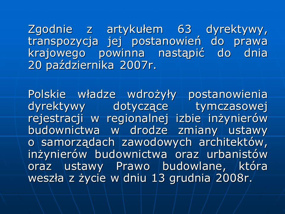 Zgodnie z artykułem 63 dyrektywy, transpozycja jej postanowień do prawa krajowego powinna nastąpić do dnia 20 października 2007r.
