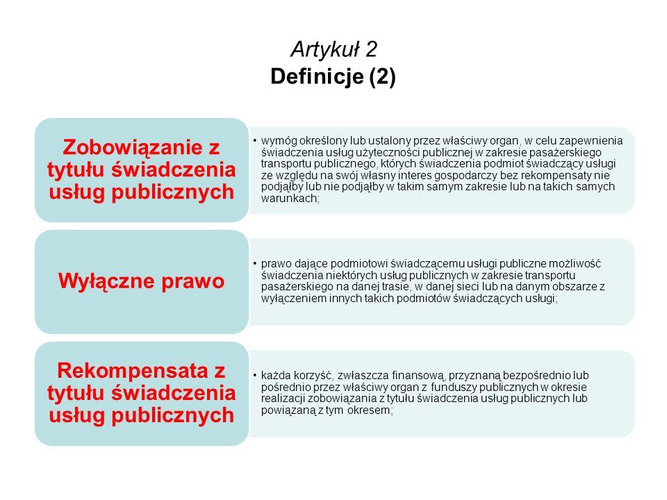 Artykuł 2 Definicje (2) Zobowiązanie z tytułu świadczenia usług publicznych.