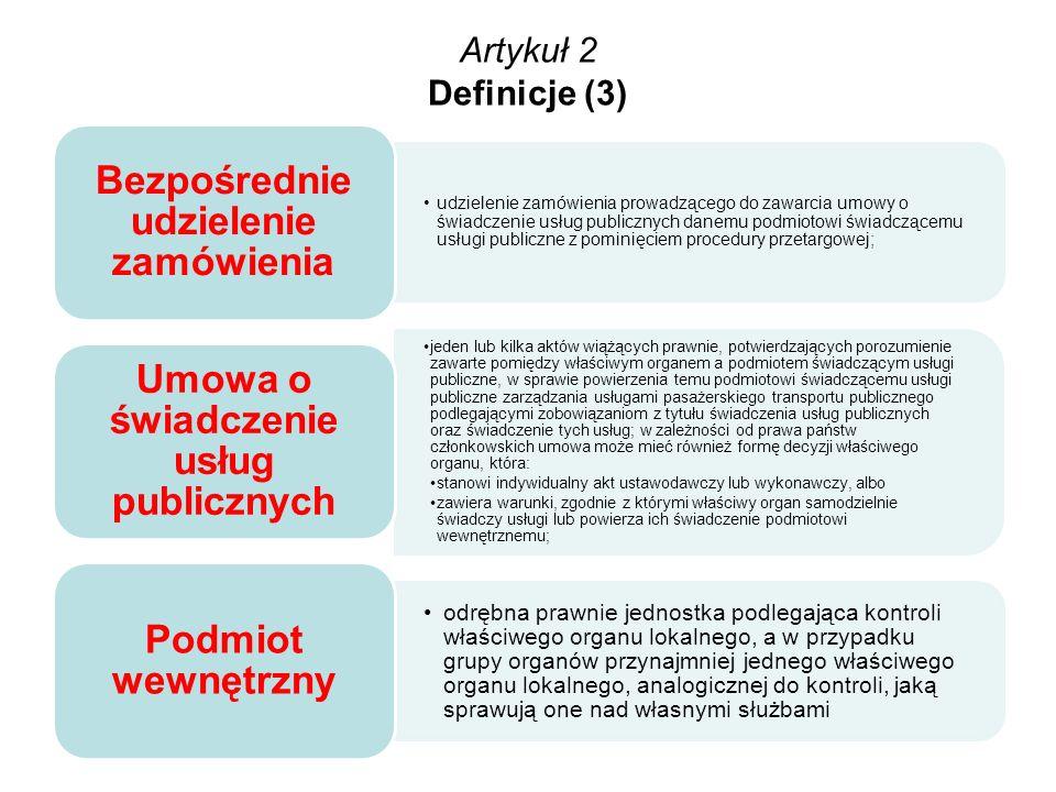 Artykuł 2 Definicje (3) Bezpośrednie udzielenie zamówienia.