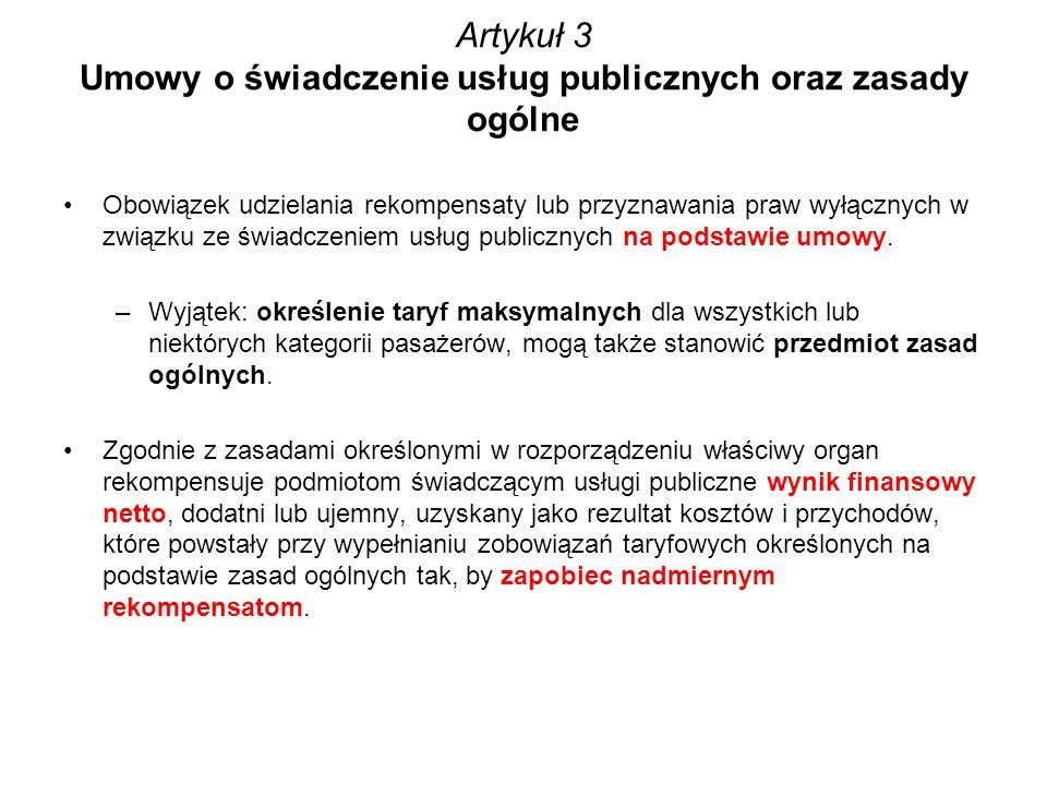 Artykuł 3 Umowy o świadczenie usług publicznych oraz zasady ogólne