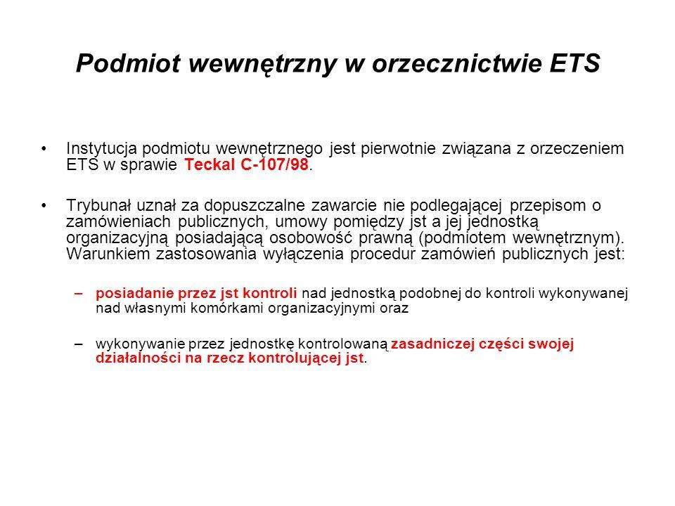 Podmiot wewnętrzny w orzecznictwie ETS