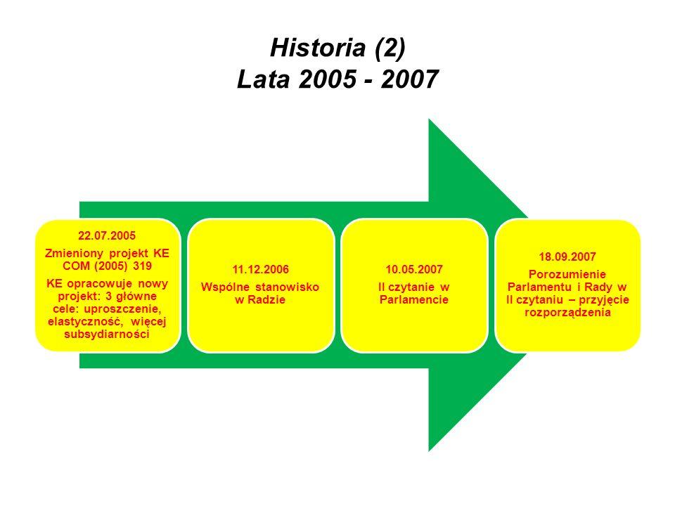 Historia (2) Lata 2005 - 2007 KE opracowuje nowy projekt: 3 główne cele: uproszczenie, elastyczność, więcej subsydiarności.