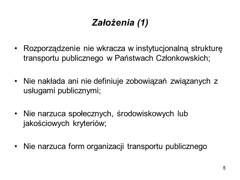 Założenia (1) Rozporządzenie nie wkracza w instytucjonalną strukturę transportu publicznego w Państwach Członkowskich;
