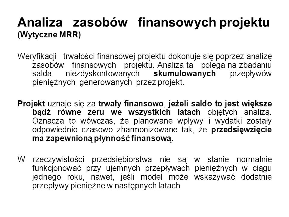 Analiza zasobów finansowych projektu (Wytyczne MRR)