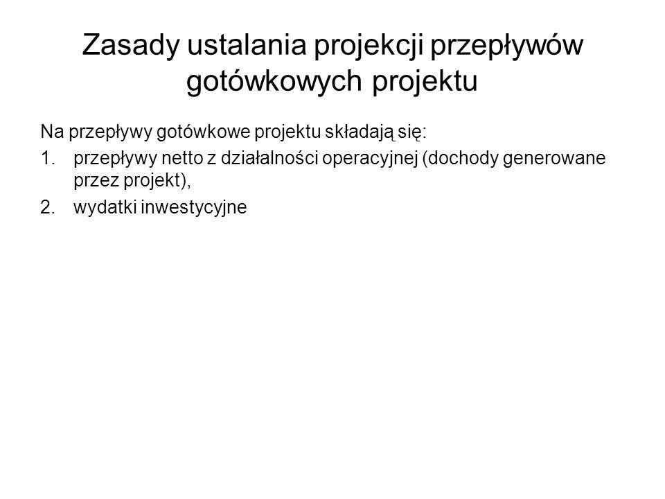 Zasady ustalania projekcji przepływów gotówkowych projektu