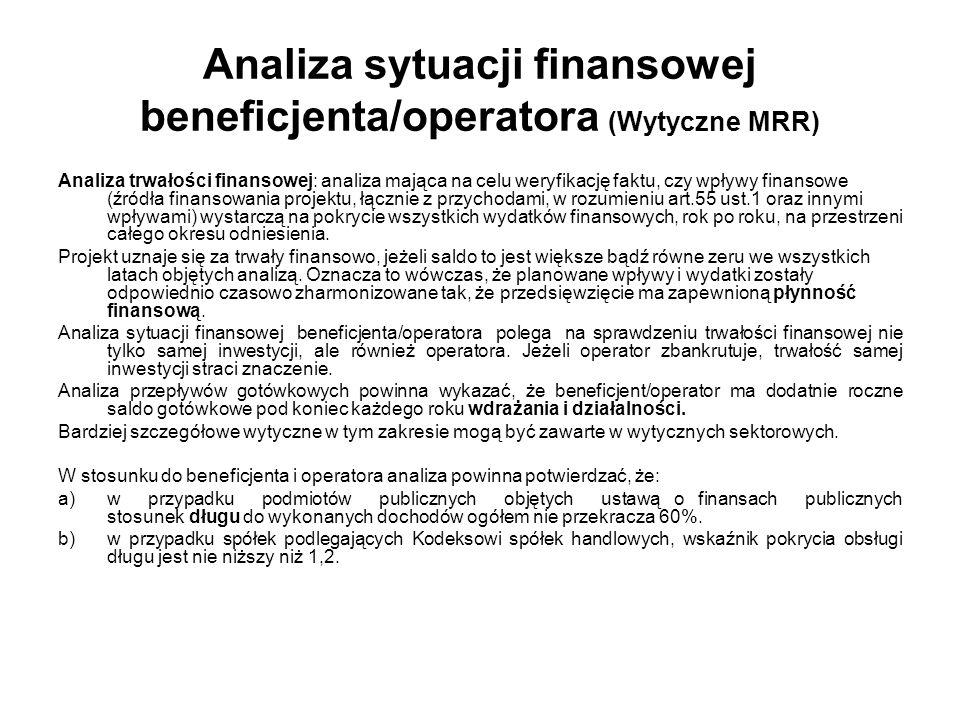 Analiza sytuacji finansowej beneficjenta/operatora (Wytyczne MRR)
