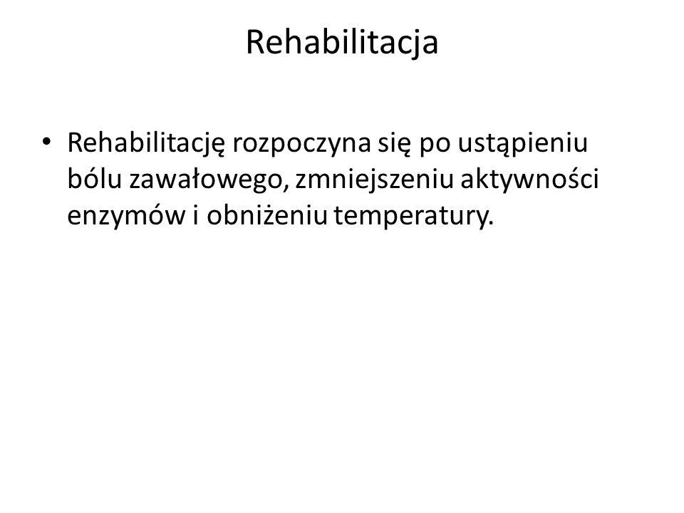 Rehabilitacja Rehabilitację rozpoczyna się po ustąpieniu bólu zawałowego, zmniejszeniu aktywności enzymów i obniżeniu temperatury.