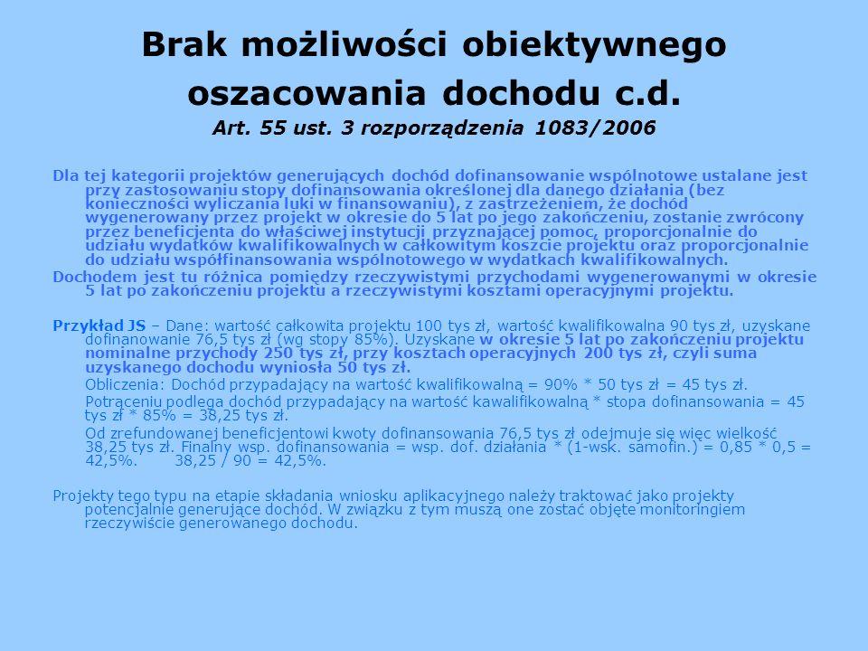 Brak możliwości obiektywnego oszacowania dochodu c. d. Art. 55 ust