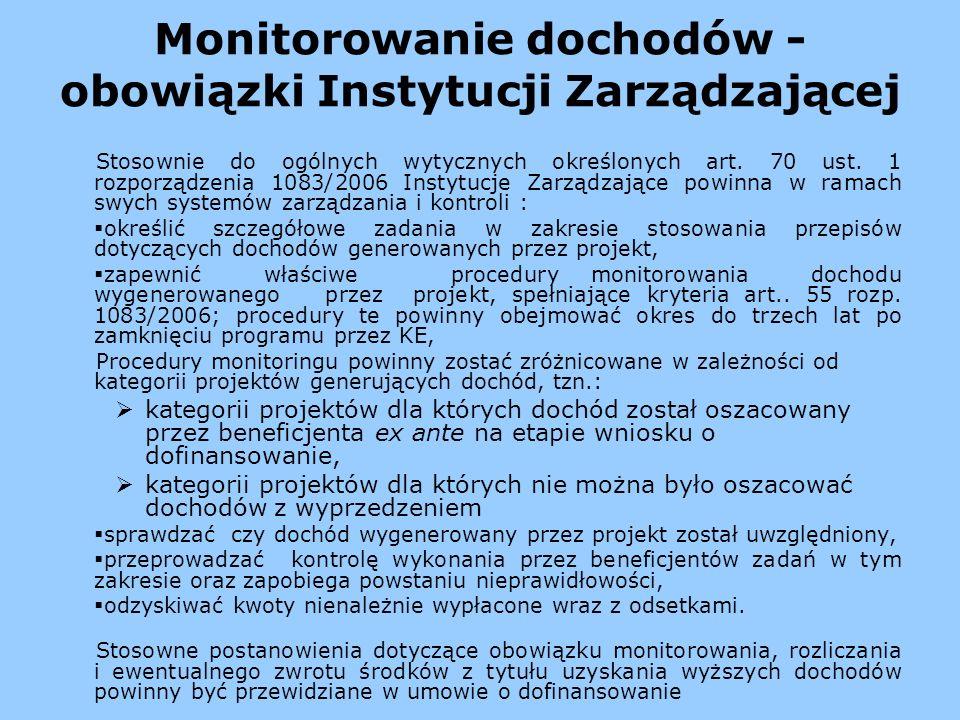 Monitorowanie dochodów - obowiązki Instytucji Zarządzającej