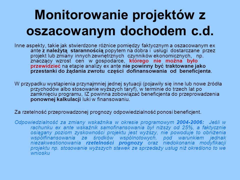 Monitorowanie projektów z oszacowanym dochodem c.d.
