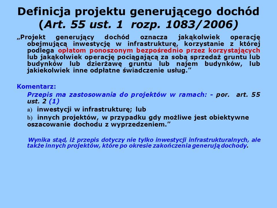 Definicja projektu generującego dochód (Art. 55 ust. 1 rozp. 1083/2006)