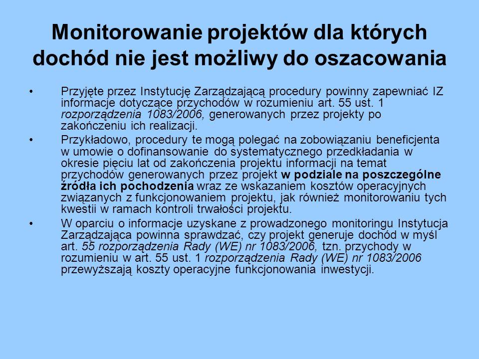 Monitorowanie projektów dla których dochód nie jest możliwy do oszacowania