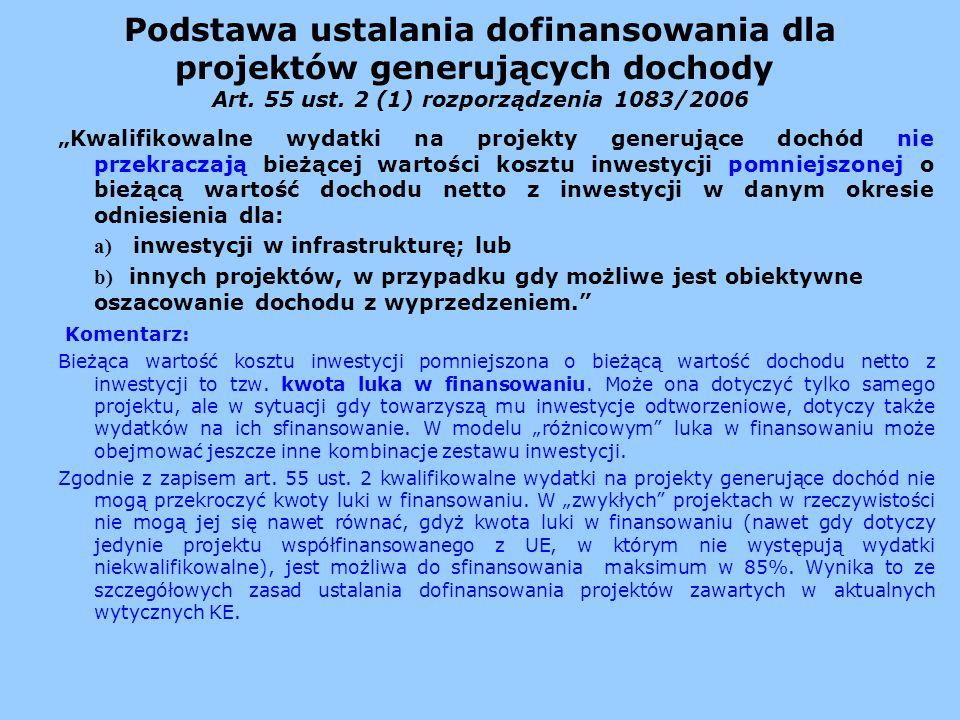 Podstawa ustalania dofinansowania dla projektów generujących dochody Art. 55 ust. 2 (1) rozporządzenia 1083/2006