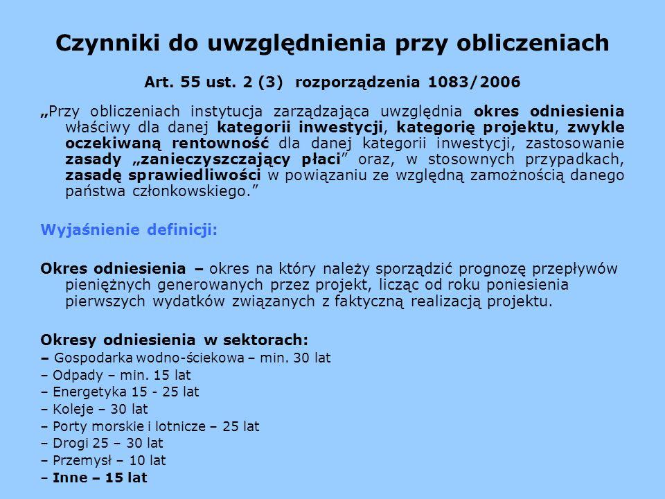 Czynniki do uwzględnienia przy obliczeniach Art. 55 ust