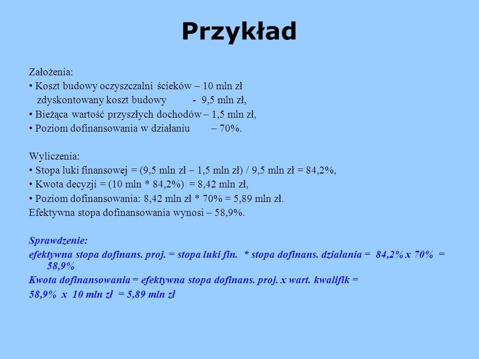 Przykład Założenia: • Koszt budowy oczyszczalni ścieków – 10 mln zł