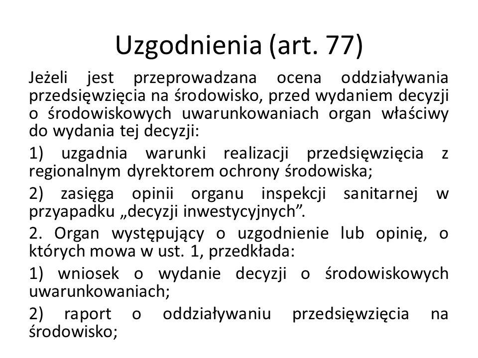 Uzgodnienia (art. 77)