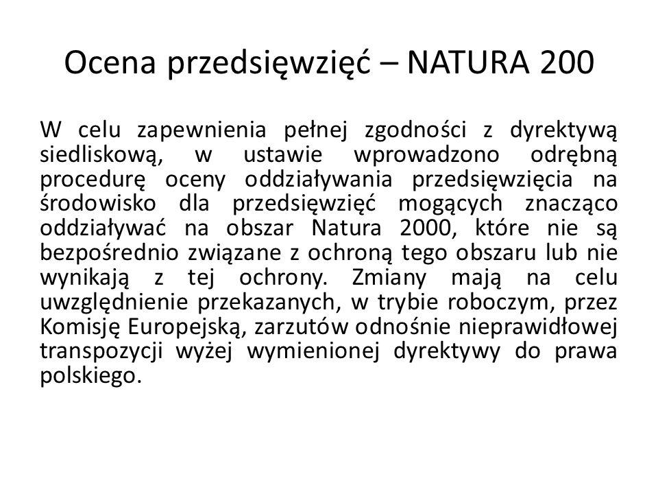 Ocena przedsięwzięć – NATURA 200
