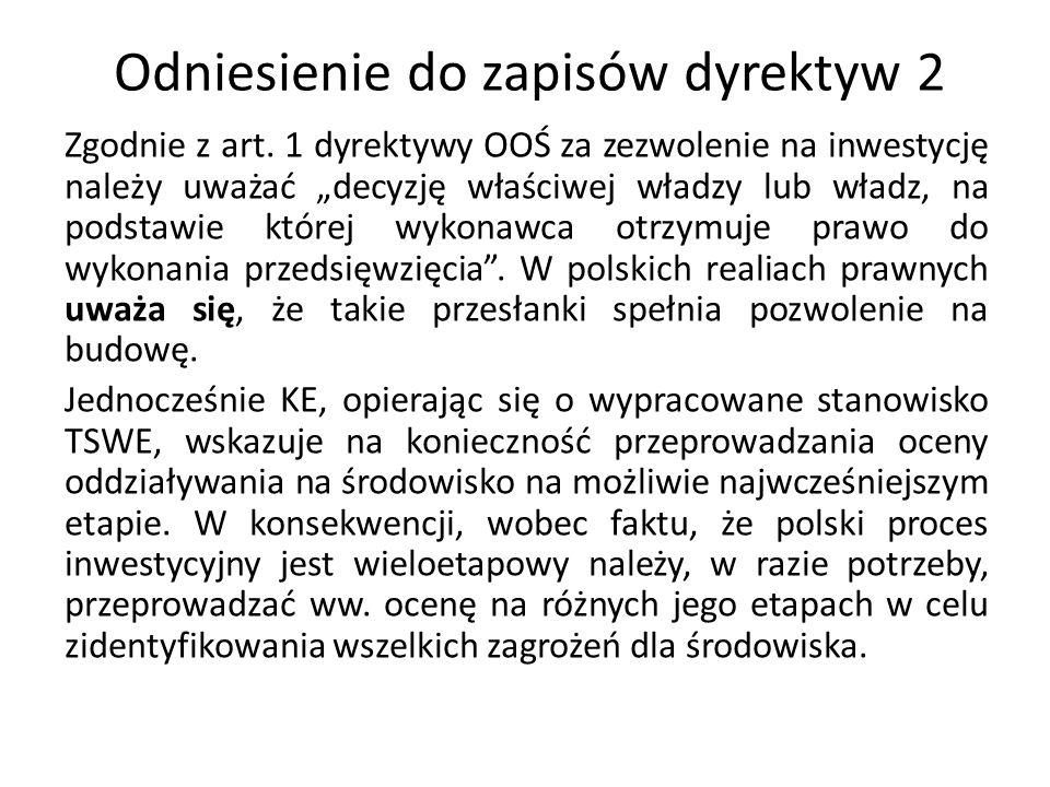 Odniesienie do zapisów dyrektyw 2
