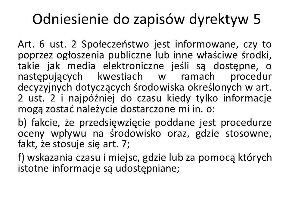 Odniesienie do zapisów dyrektyw 5