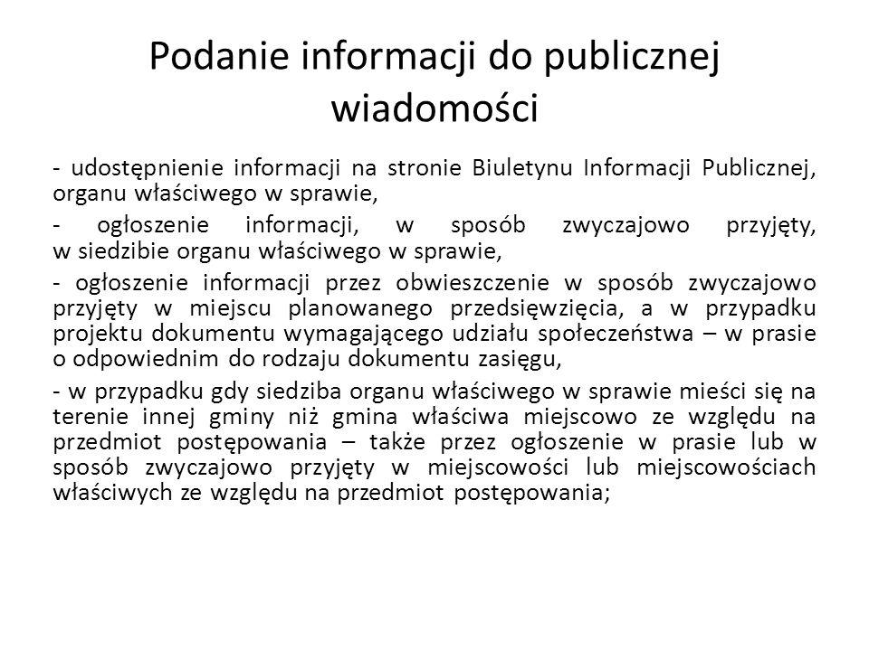 Podanie informacji do publicznej wiadomości