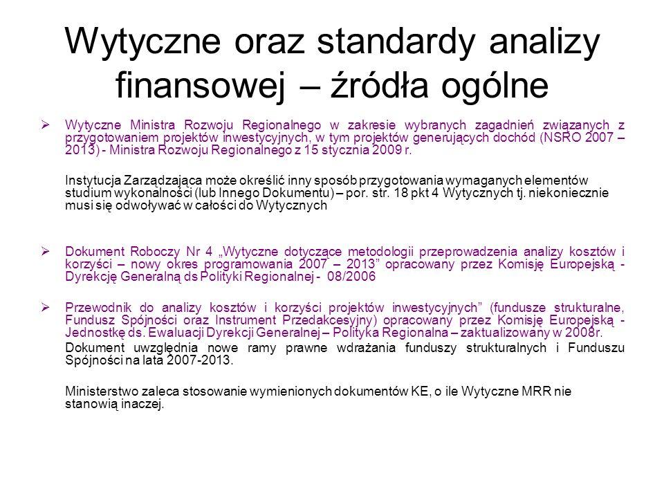 Wytyczne oraz standardy analizy finansowej – źródła ogólne