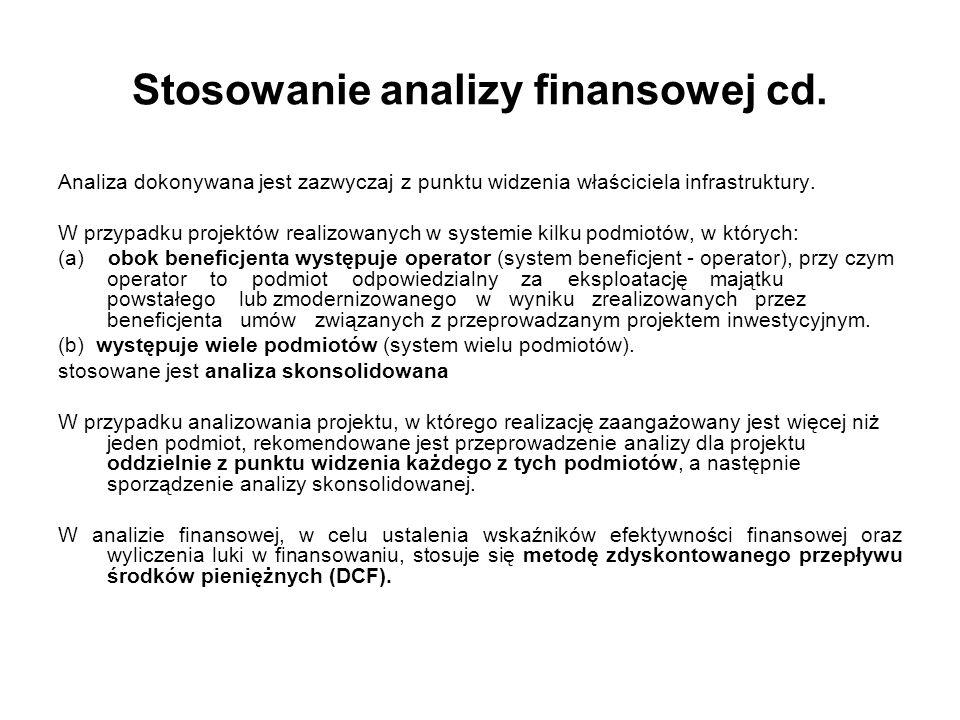 Stosowanie analizy finansowej cd.